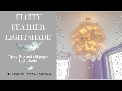 FEATHER BOA LIGHTSHADE || USING POUNDLAND ITEMS || D.I.Y WEDNESDAYS