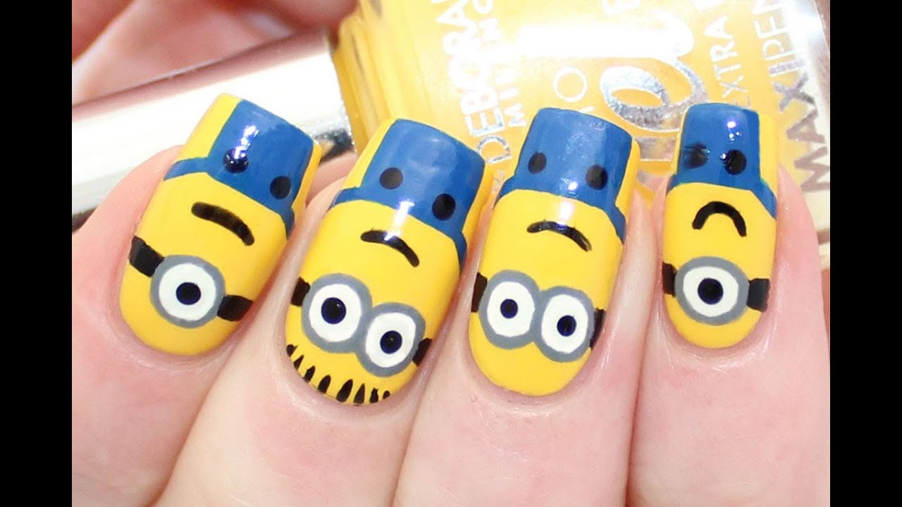 Minions / Despicable Me Nail Art Tutorial - YouTube
