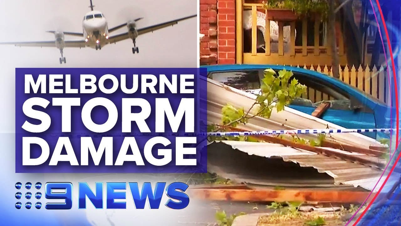 Violent storm hits Melbourne after Victoria's record day of heat   Nine News Australia