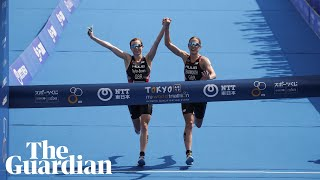 Triathletes Learmonth and Taylor-Brown disqualified after crossing line hand-in-hand