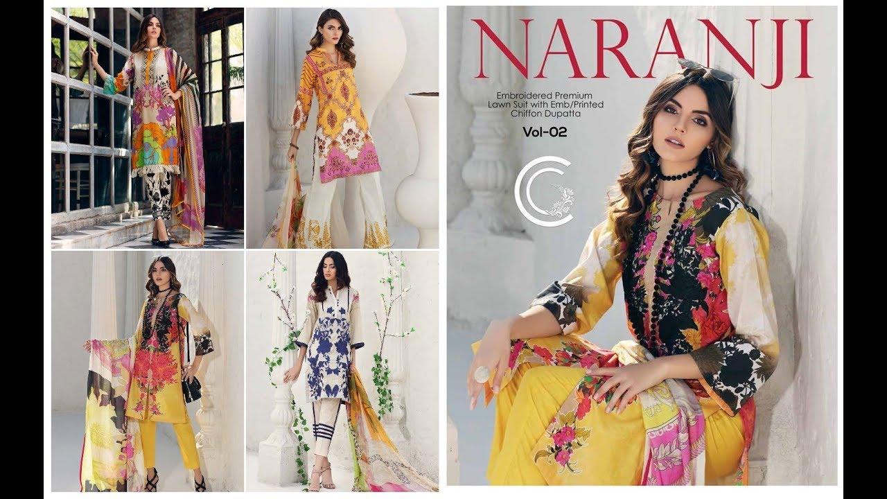 8c78194f52 Charizma Naranji Vol-2 Premium Lawn Suits With Chiffon Dupatta Collection  2019-20