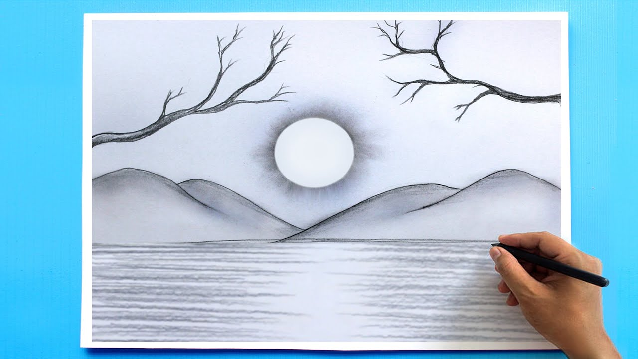 How to Draw a simple Landscape   Easy Pencil Drawing