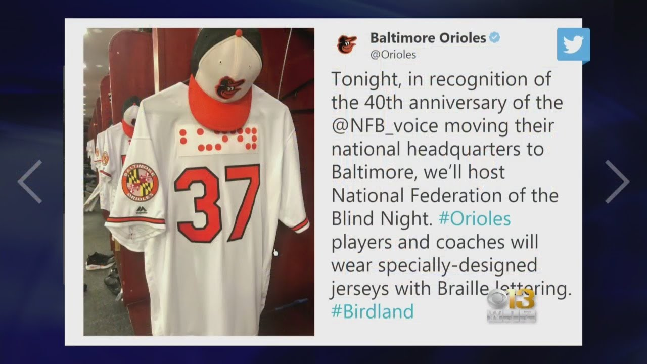 finest selection 1371f 908a7 Orioles To Become First American Pro Sports Team To Wear Braille On Uniforms