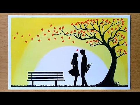 How to draw Romantic couple under love tree