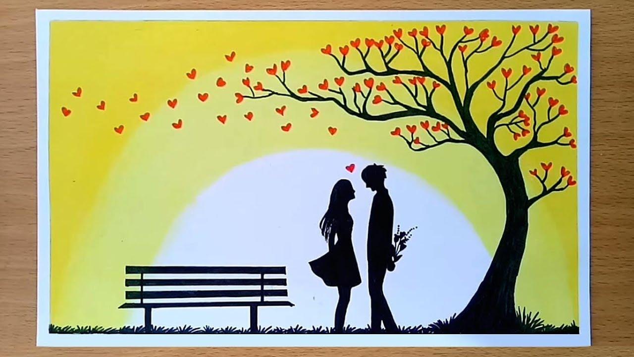 How to draw Romantic couple under love tree    Valentine's ...