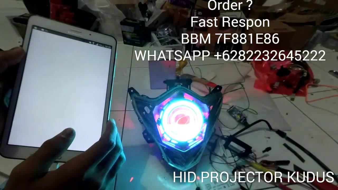 Modification Headlamp Satria Fu 150 With Angel Eye Rgb Wifi 10 Controller Android Projie
