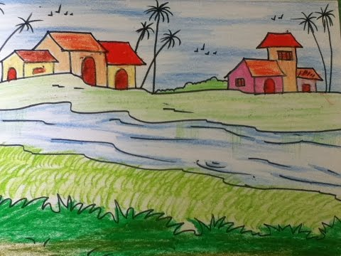 Beautiful scenery drawing for kids in simple steps for Easy landscape drawings step by step