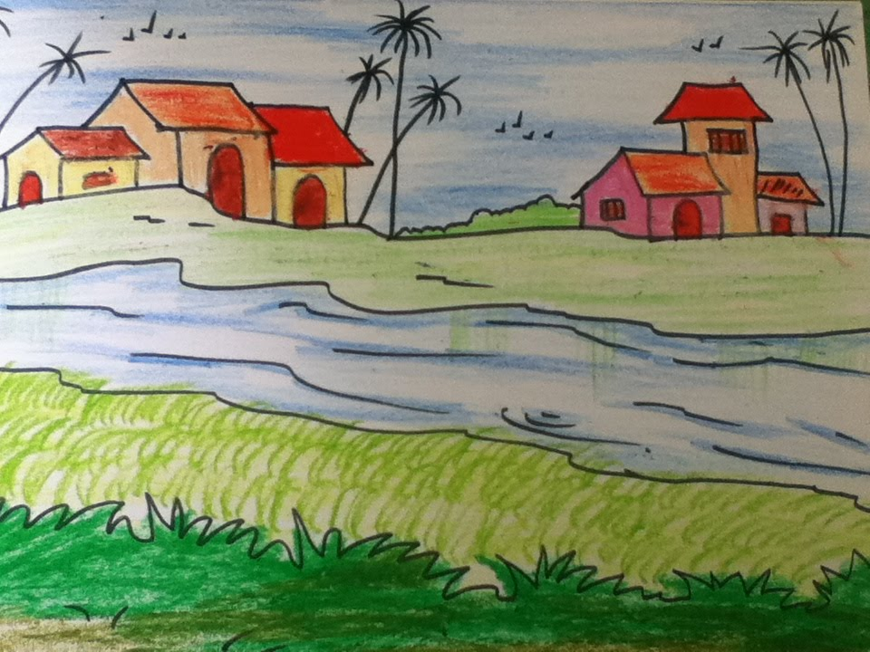 beautiful landscape drawing for kids in simple steps - Simple Drawing For Children