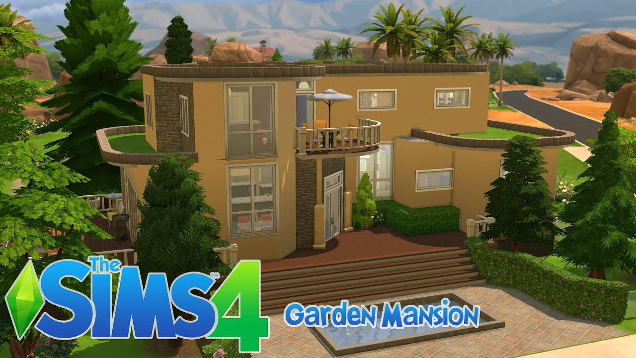 Sims 4 house building garden mansion youtube for House build ideas