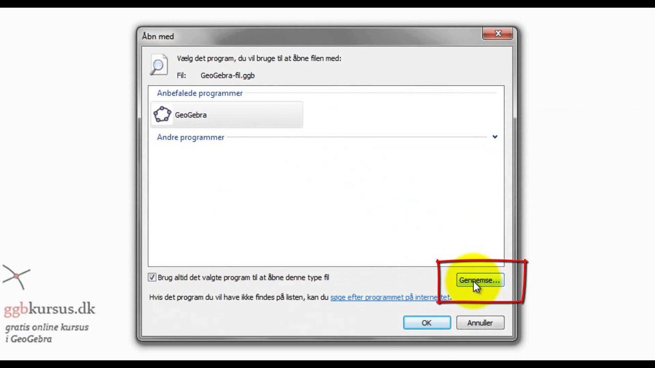 Fix til GeoGebra - Ændring af standardprogram i Windows