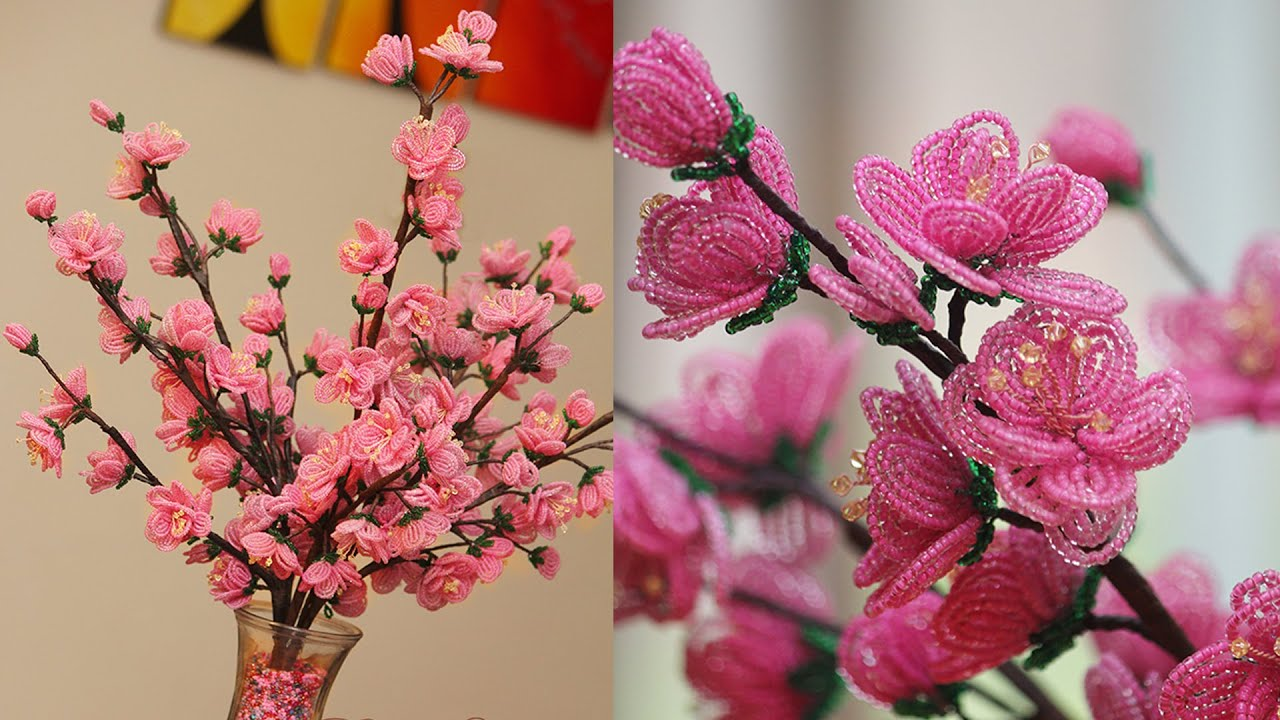 French beaded flowers  Cherry Blossoms PART 2   YouTube