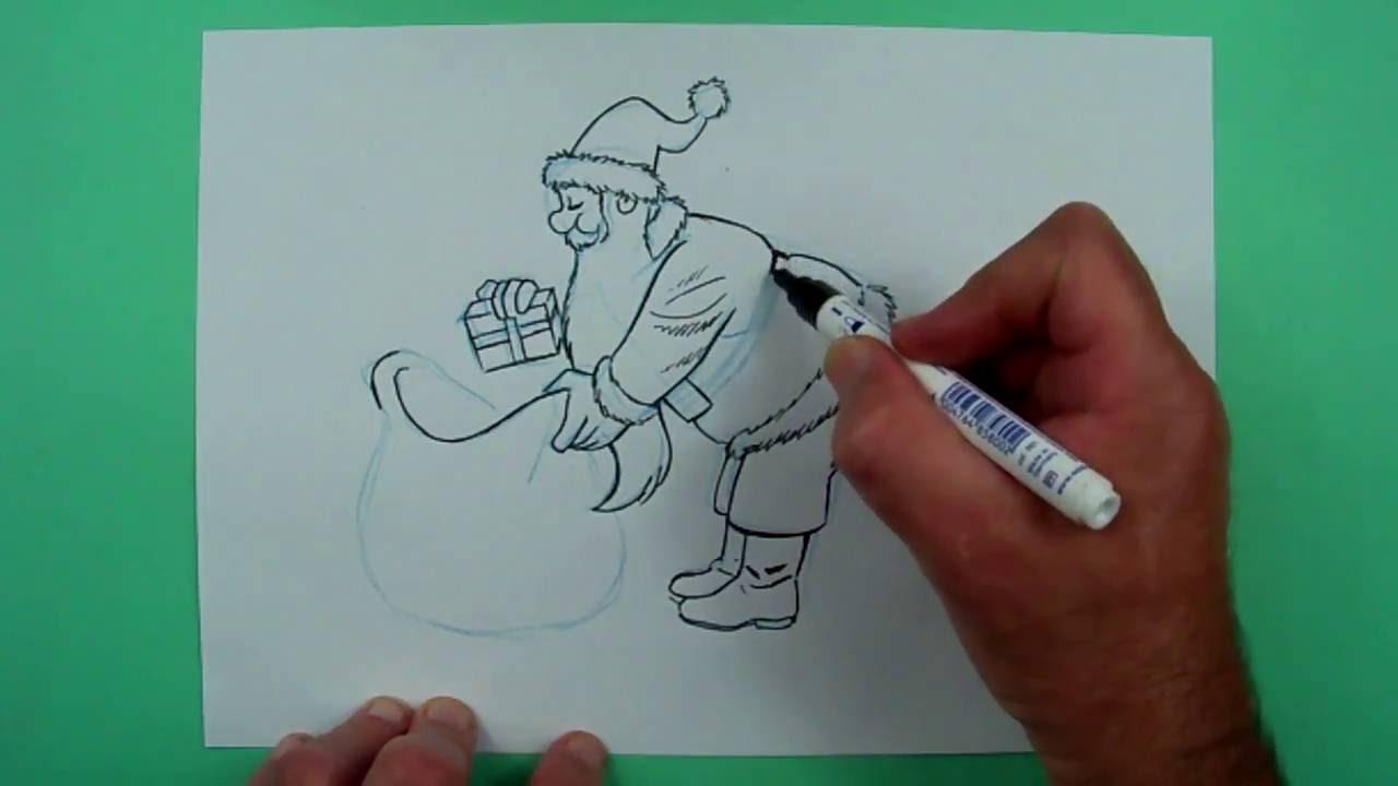 wie zeichnet man einen weihnachtsmann zeichnen f r kinder. Black Bedroom Furniture Sets. Home Design Ideas