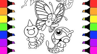 Coloring Pages Pokemon Caterpie Butterfree And Beedrill I Fun Colouring  Videos For Kids