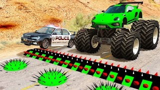 Police Spike Strip Crashes #19 - Beamng drive
