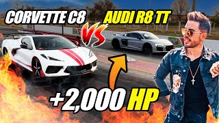 CORREMOS AUDI R8 TWIN TURBO VS MI CORVETTE C8 🔥
