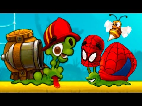 УЛИТКА БОБ 3 и Кид #4 Спайдермен и пожарный Snail Bob встретил ОСУ и прыгающую КОЛЮЧКУ на пурумчата