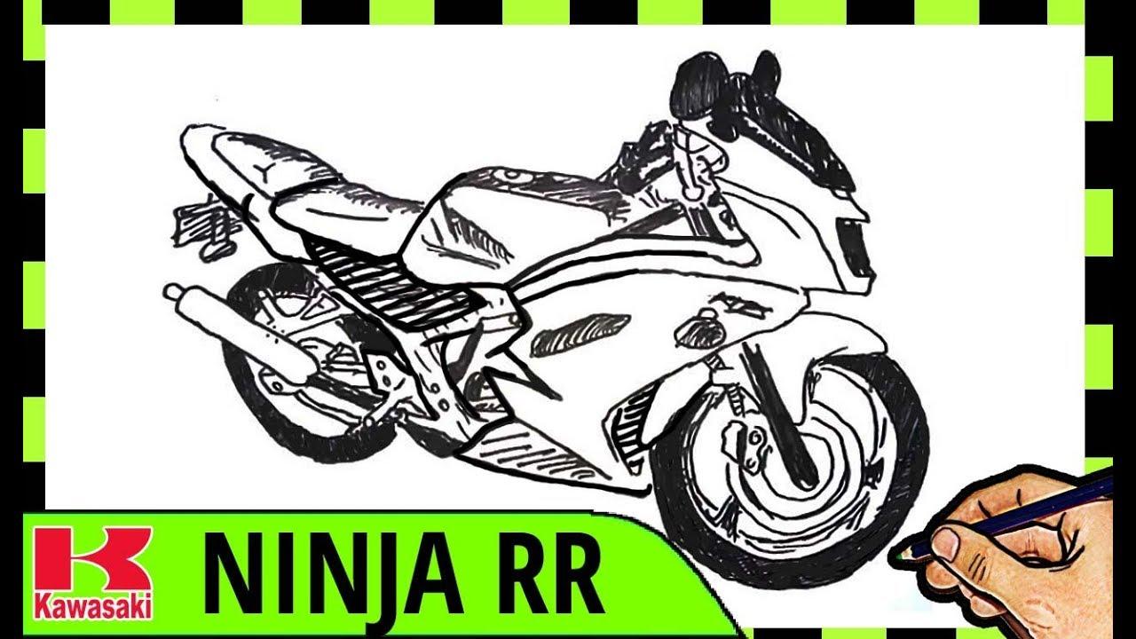 Kumpulan Mewarnai Gambar Sketsa Motor Ninja 2 Tak Desain