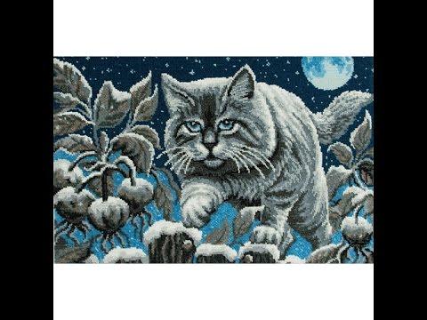 Схемы вышивки крестом лунный кот
