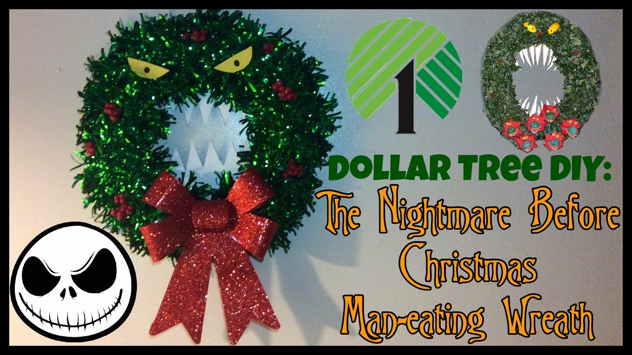 dollar tree diy the nightmare before christmas man eating wreath