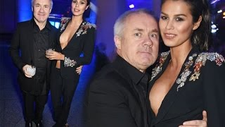 Damien Hirst's 25-year-old Girlfriend Narrowly Avoids Nipple Slip in Risque Plunging