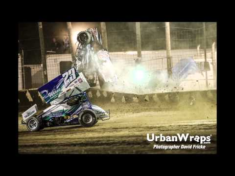 Mike Decker #12 Sprint Car rollover crash at Wilmot Speedway in Wilmot, WI