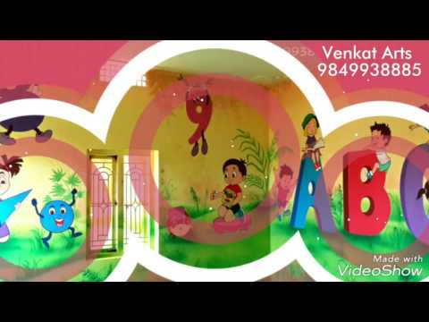 Alphabet and Numbers wall painting for Play School / Play School Wall Painting Work