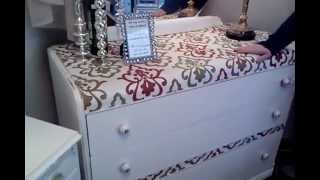 Art Deco Waterfall Dresser Painted Distressed And Shabby Chic