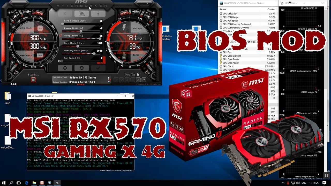 MSI rx570 Gaming X bios mod ethereum mining