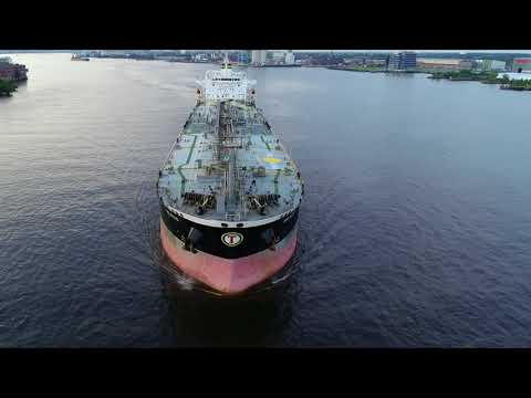 Aerial Drone Video of Oil Chemical Tanker Ship Selecao Delaw