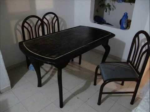 Como hacer una mesa de comedor, con madera reciclada. - YouTube