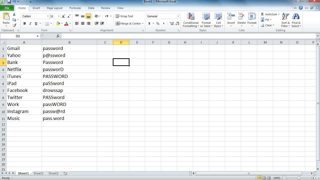 create a password protected excel spreadsheet