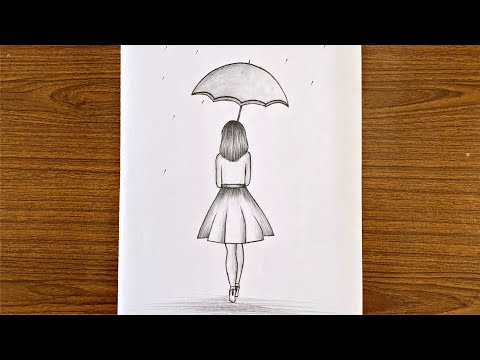 How To Draw A Girl With Umbrella Step By Step / Easy Drawing For Girls Step By Step