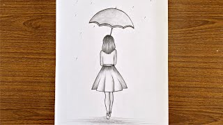 How to draw a gİrl with umbrella step by step / Easy drawing for girls step by step