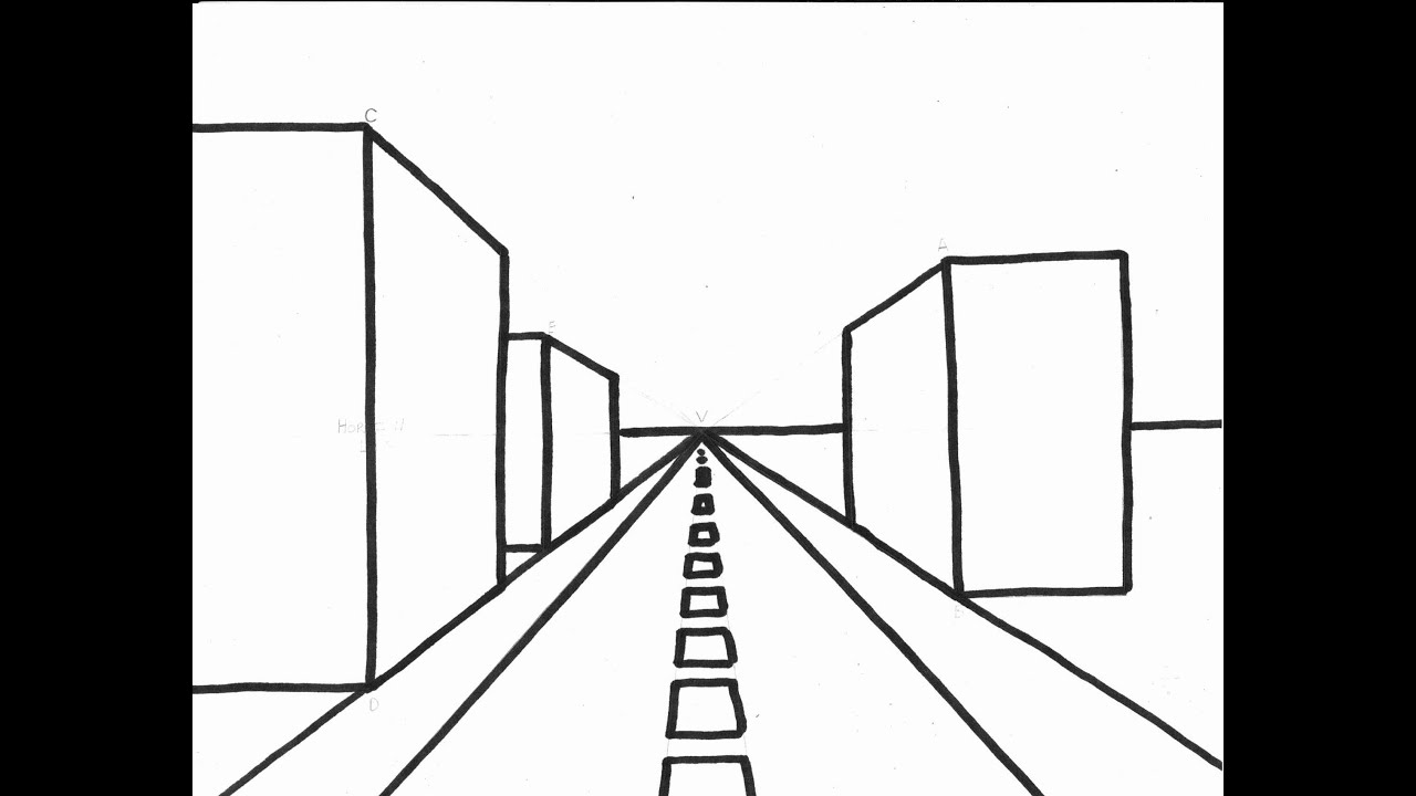 Buildings 1 Point Perspective (Long Drawing