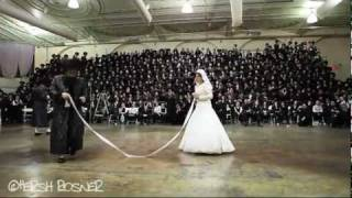 Bobov Rebbe Shlita dancing Mitzva Tantz at Wedding