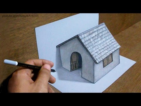 Thumbnail: Trick Art Drawing 3D Tiny House on paper