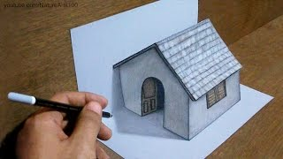 Trick Art Drawing 3D Tiny House on paper