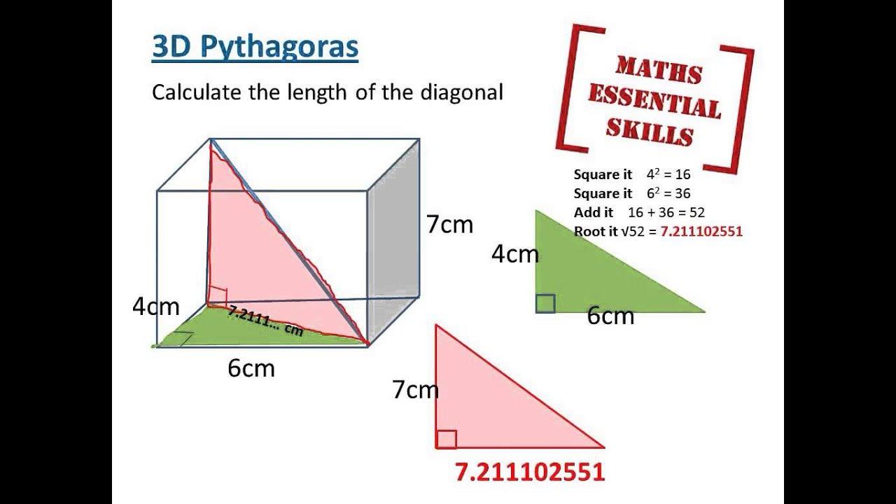 3d pythagoras diagonal lengths youtube. Black Bedroom Furniture Sets. Home Design Ideas