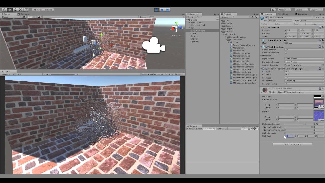 Render texture distortion shader Unity3D