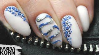 Антистресс маникюр Змея Гуччи на ногтях Маникюр рептилия текстура bubble nails от руки