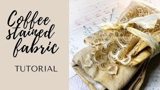How to coffee stain fabric for junk journal #shorts