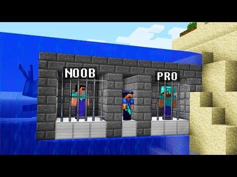 Minecraft Noob vs. Pro : UNDERWATER PRISON JAILBREAK challenge 4 - Minecraft Battle