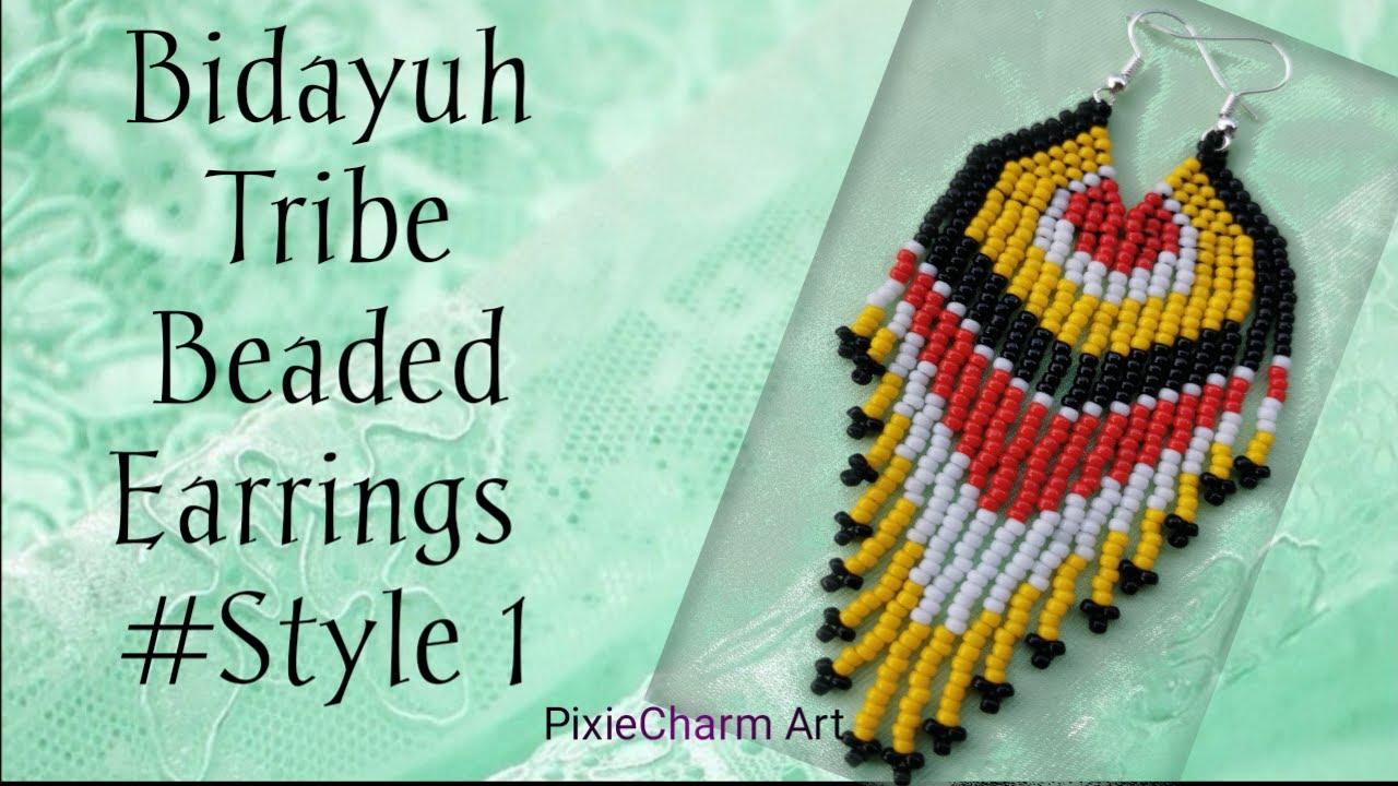 Bidayuh Tribe Fringe Earrings Part 1 Brick Stitch Youtube