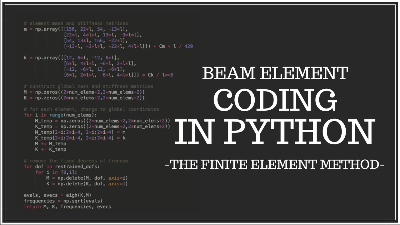 Euler-Bernoulli Beam Element - Coding in Python