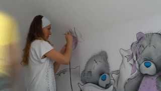 Роспись стен Тедди(Нестандартный декор стен, потолков, реставрация мебели с помощью художественных приёмов и современных..., 2014-01-29T18:07:49.000Z)