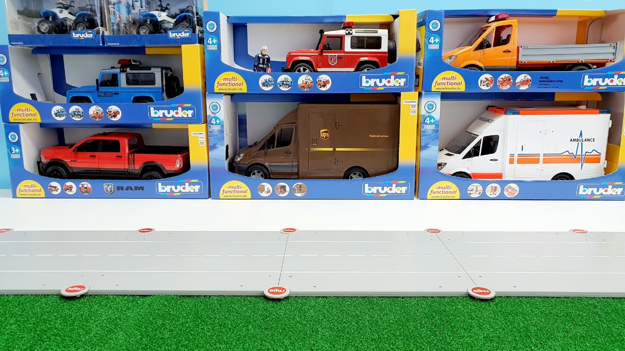 Police car, fire truck, bruder, playmobil / Toy Vehicles for Kids