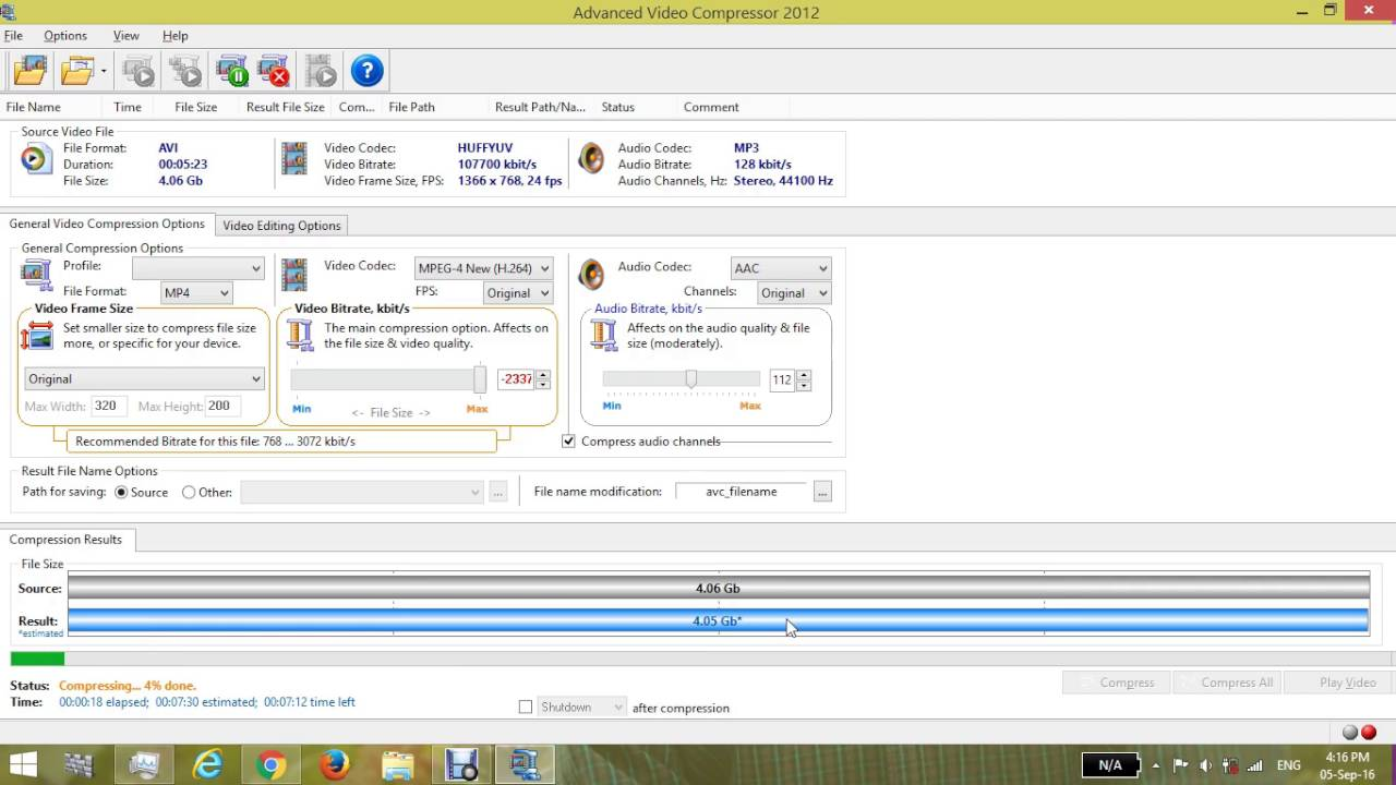 how to compress big file size video to minimum size by advanced video  compressor