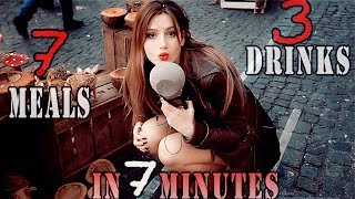 ASMR MUKBANG in PUBLIC. 7 Meals. 3 drinks. 7 MINUTES. ASMR eating АСМР