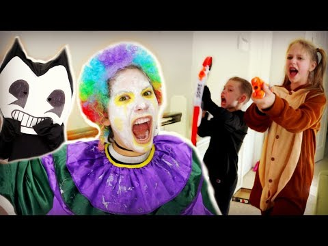 Thumbnail: Crazy Clown Attack on Halloween! FREAKY MONSTERS SCARES BENDY SuperHeroKids Nerf Attack