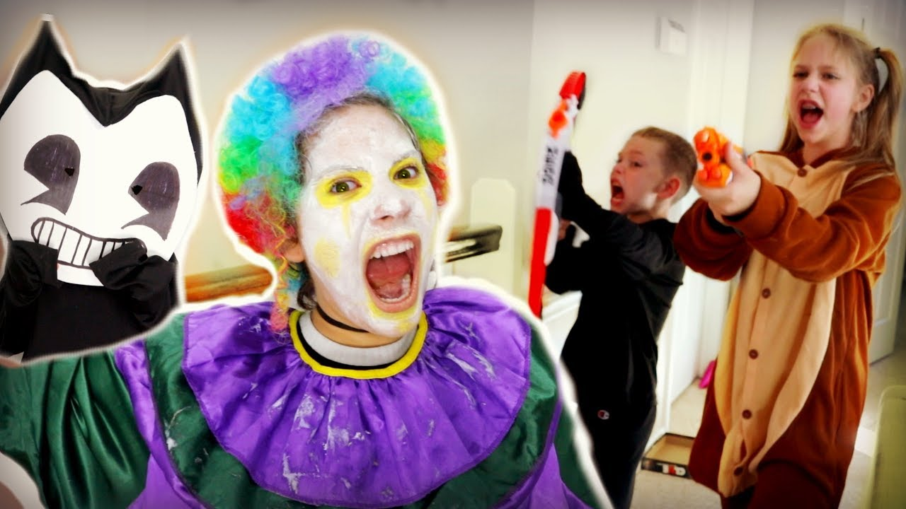 Crazy Clown Attack on Halloween! FREAKY MONSTERS SCARES BENDY SuperHeroKids Nerf Attack  sc 1 st  YouTube & Crazy Clown Attack on Halloween! FREAKY MONSTERS SCARES BENDY ...